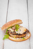 Hamburger with blue cheese Stock Images