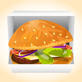 Hamburger in a box vecor Stock Image