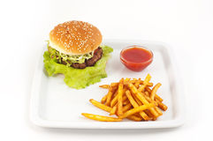 Hamburger with bread close up. Stock Photos