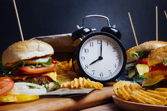Hamburger-breakfast Stock Photo