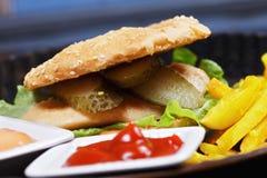 Hamburger with breast cutlet closeup Royalty Free Stock Photo