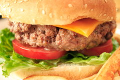 Hamburger on a bun. A thick juicy hamburger on a sesame seed bun with cheese, lettuce and tomato Stock Images