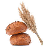 Hamburger bun or roll  and wheat ears bunch  cutout Royalty Free Stock Image