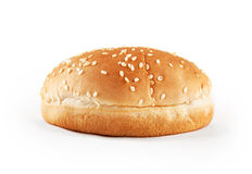 Hamburger bun. With sesame seeds isolated on white background. Front view Royalty Free Stock Photography