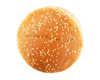 Hamburger bun. With sesame seeds isolated on white background. Top view Stock Photos