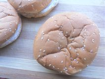 Hamburger bun  on wooden background Stock Photography