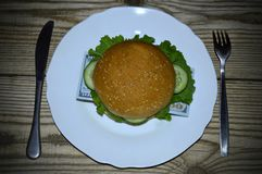 Hamburger with a bunch of dollars on a plate royalty free stock photos
