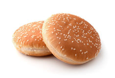 The hamburger buns. Hamburger buns isolated on white Royalty Free Stock Photo