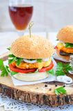 Hamburger , burger, cheeseburger with grilled beef, cheese, and vegetables Royalty Free Stock Image