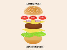 Hamburger or burger constructor isolated on background. stock illustration