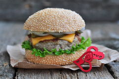 Hamburger , burger with grilled beef, cheese and vegetables Stock Image