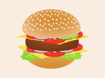 Hamburger or burger isolated on background.  Royalty Free Stock Photos
