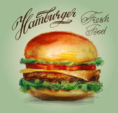Hamburger, burger vector logo design template Stock Photos