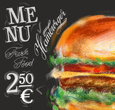 Hamburger, Burgervektorlogo-Designschablone vektor abbildung