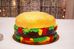 Hamburger Cake. Very big and detailed hamburger grooms cake Royalty Free Stock Photography