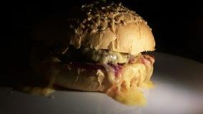 Hamburger caldo su un piatto fotografie stock libere da diritti