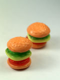 Hamburger candy. Two candys on a white background stock image
