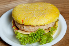 Hamburger carrot chicken cutlet Royalty Free Stock Photography