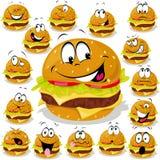 Hamburger cartoon. Hamburger illustration with many expressions Stock Photos