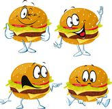 Hamburger cartoon with face and hand gesture - vector Royalty Free Stock Photos