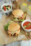 Hamburger casalingo Fotografie Stock Libere da Diritti