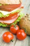 Hamburger casalingo con gli ortaggi freschi Fotografia Stock