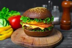 Hamburger casalingo con gli ortaggi freschi Fotografie Stock Libere da Diritti