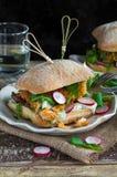 Hamburger casalingo del pesce Immagine Stock Libera da Diritti
