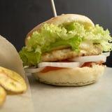 Hamburger casalingo del pollo Immagini Stock