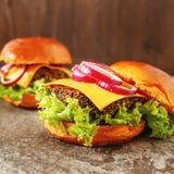 Hamburger casalingo della verdura in un panino con la birra dei semi di sesamo Fotografia Stock Libera da Diritti