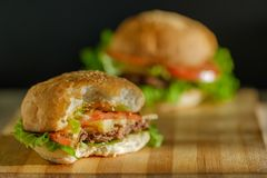 Hamburger casalingo grande Hamburger di gusto fotografia stock libera da diritti