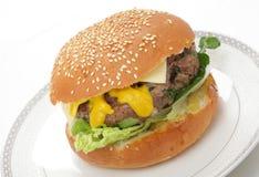 Hamburger casalingo in panino Fotografie Stock Libere da Diritti