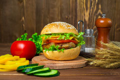 Hamburger caseiro com legumes frescos Fotos de Stock Royalty Free