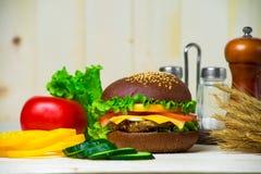 Hamburger caseiro com legumes frescos Imagens de Stock Royalty Free