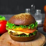 Hamburger caseiro com legumes frescos Foto de Stock Royalty Free