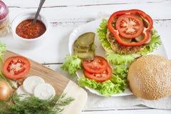 Hamburger caseiro, vegetais e ervas Fotografia de Stock Royalty Free