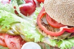 Hamburger caseiro, vegetais e ervas Imagem de Stock Royalty Free