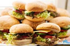 Hamburger caseiros com legumes frescos fotos de stock royalty free