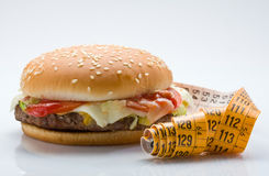 Hamburger and Centimeter Royalty Free Stock Photography