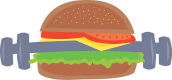 Hamburger che simbolizza preoccupazione circa alimento Fotografia Stock Libera da Diritti