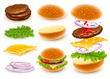 Hamburger with cheese. Lettuce, onion and meat rissole. Vector illustration Stock Photo