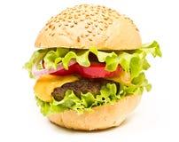 Hamburger with cheese and chop   Royalty Free Stock Photos