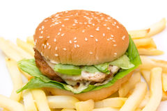 Hamburger with cheese and fries close Royalty Free Stock Photo