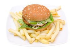 Hamburger with cheese and fries Stock Image