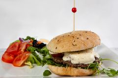 Hamburger cheese onion lettuce tomato stock photos