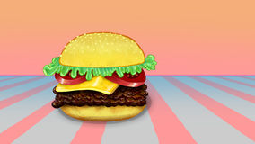 Hamburger. With cheese, soft colors background illustration Royalty Free Stock Photos