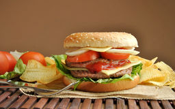 Hamburger with cheese, tomato, onion and lettuce Royalty Free Stock Image
