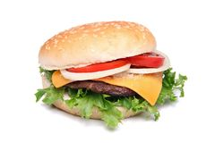 Hamburger or cheeseburger. With vegetables on white background stock image
