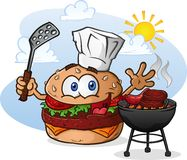 Hamburger Cheeseburger Cartoon Character Grilling with a Chef Hat. A cheeseburger chef cartoon character, grilling hamburgers and hotdogs over a charcoal grill Royalty Free Stock Image