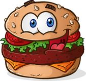 Hamburger Cheeseburger Cartoon Character. A simple hamburger cheeseburger cartoon character with a big smiling face and wide eyes Royalty Free Stock Photography